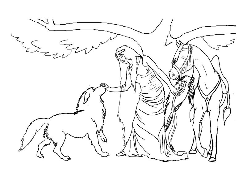 Elf With Wolf And Horse Fantasy Coloring Page