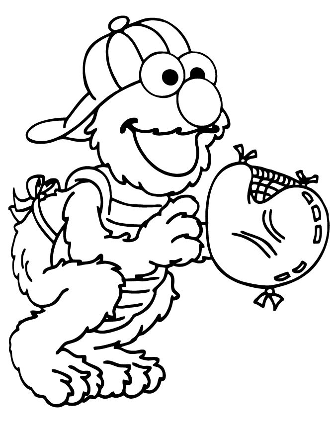 Elmo Baseball Coloring Page 001