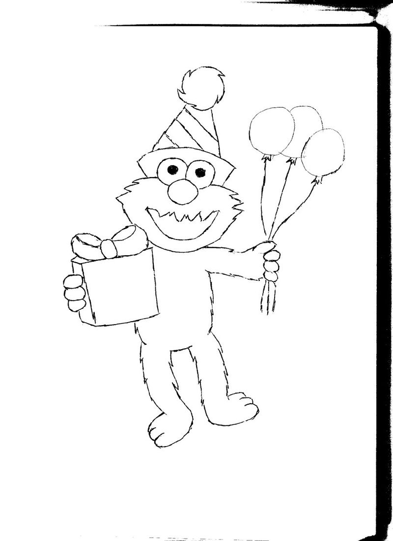 Elmo Birthday Coloring Pages 001