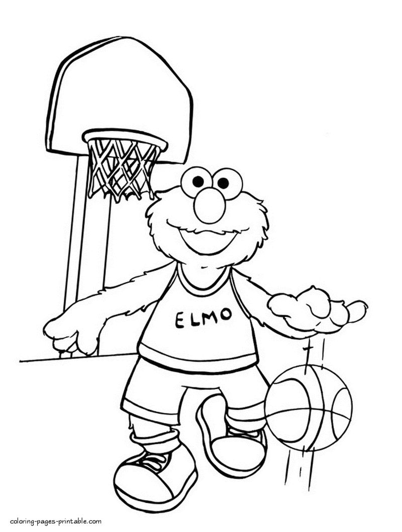 Elmo Playing Basketball Coloring Page