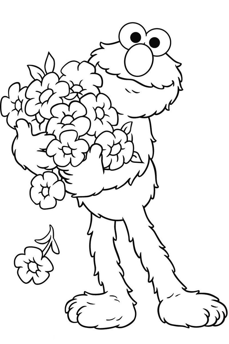 Elmos Flowers Coloring Page