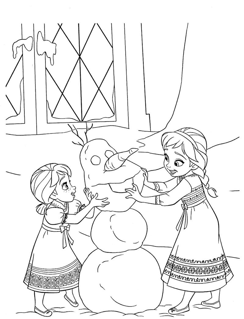 Elsa And Anna Build A Snowman Coloring Page