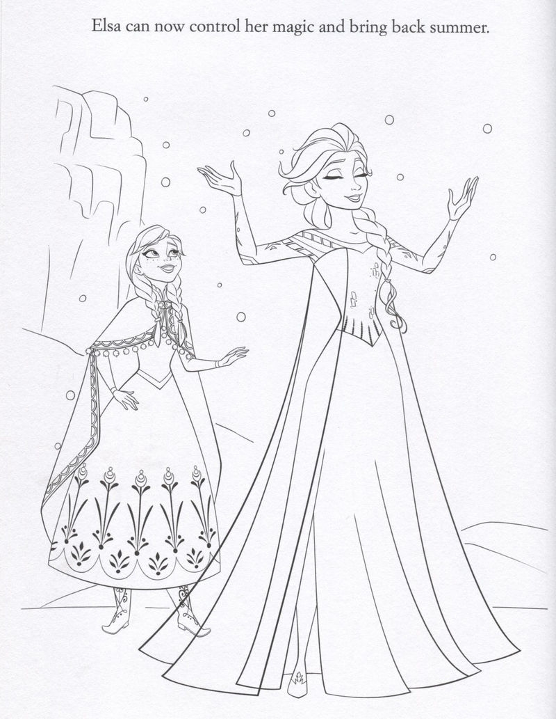 Elsa controls her magic coloring page