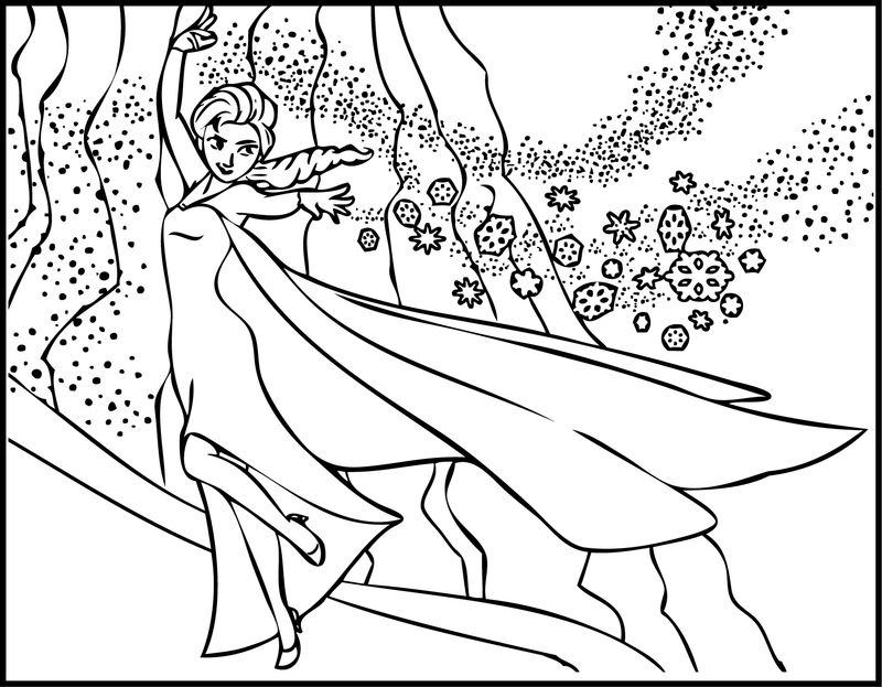 Elsa The Snow Showing Her Magic Coloring Page