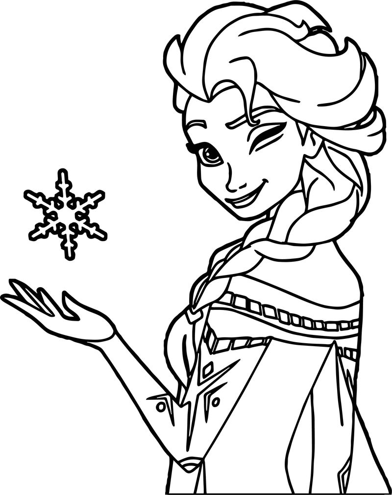 Elsa Winking Coloring Page