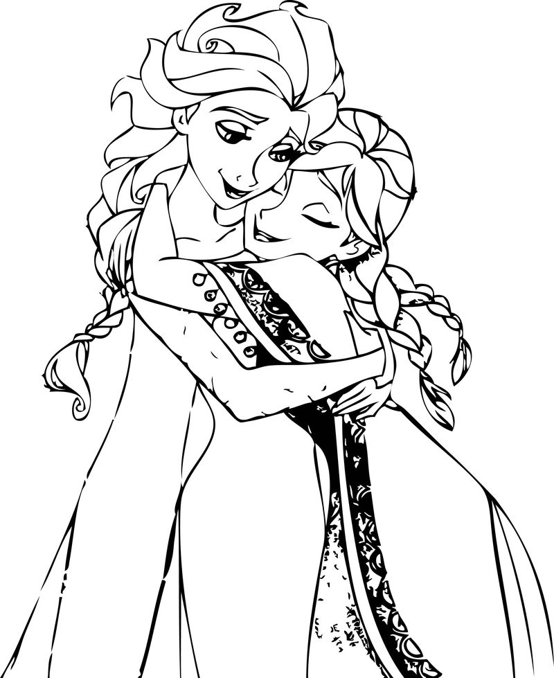 Elsa And Anna Hug Coloring Pages