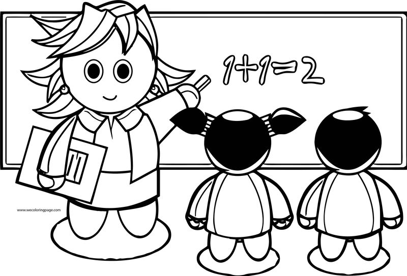 English Teacher One Plus One Coloring Page