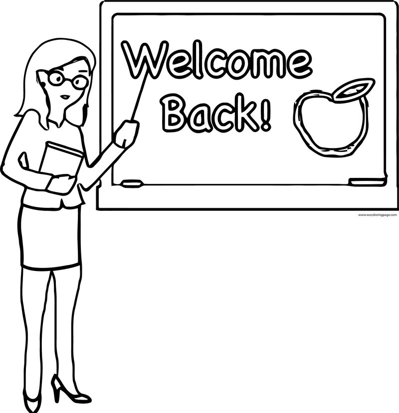 English Teacher Welcome Back Apple Coloring Page