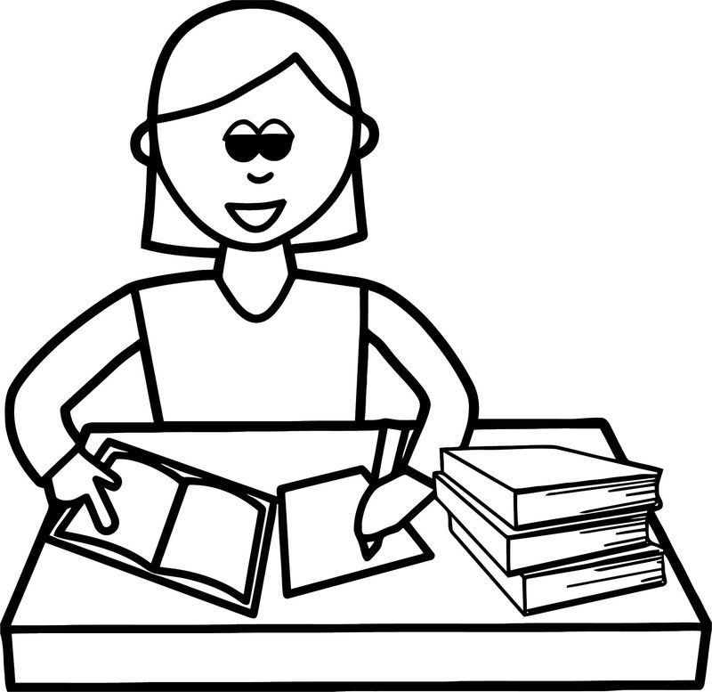 English Teacher Write Coloring Page