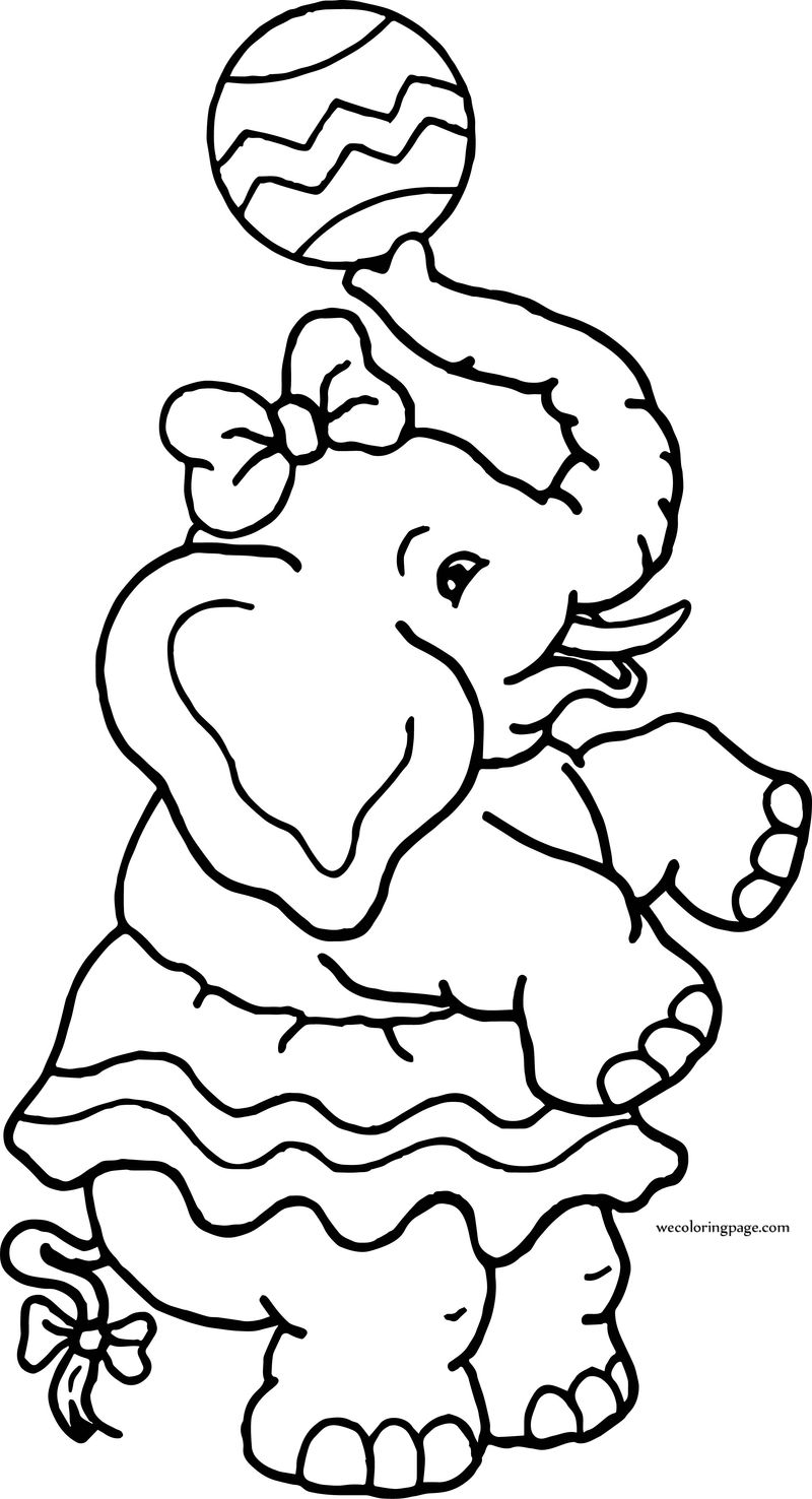 Entertainment Elephant Circus Coloring Page