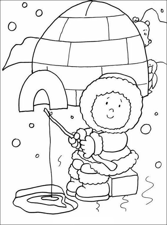 Eskimo Fishing In The Front Of Igloo Coloring Sheet
