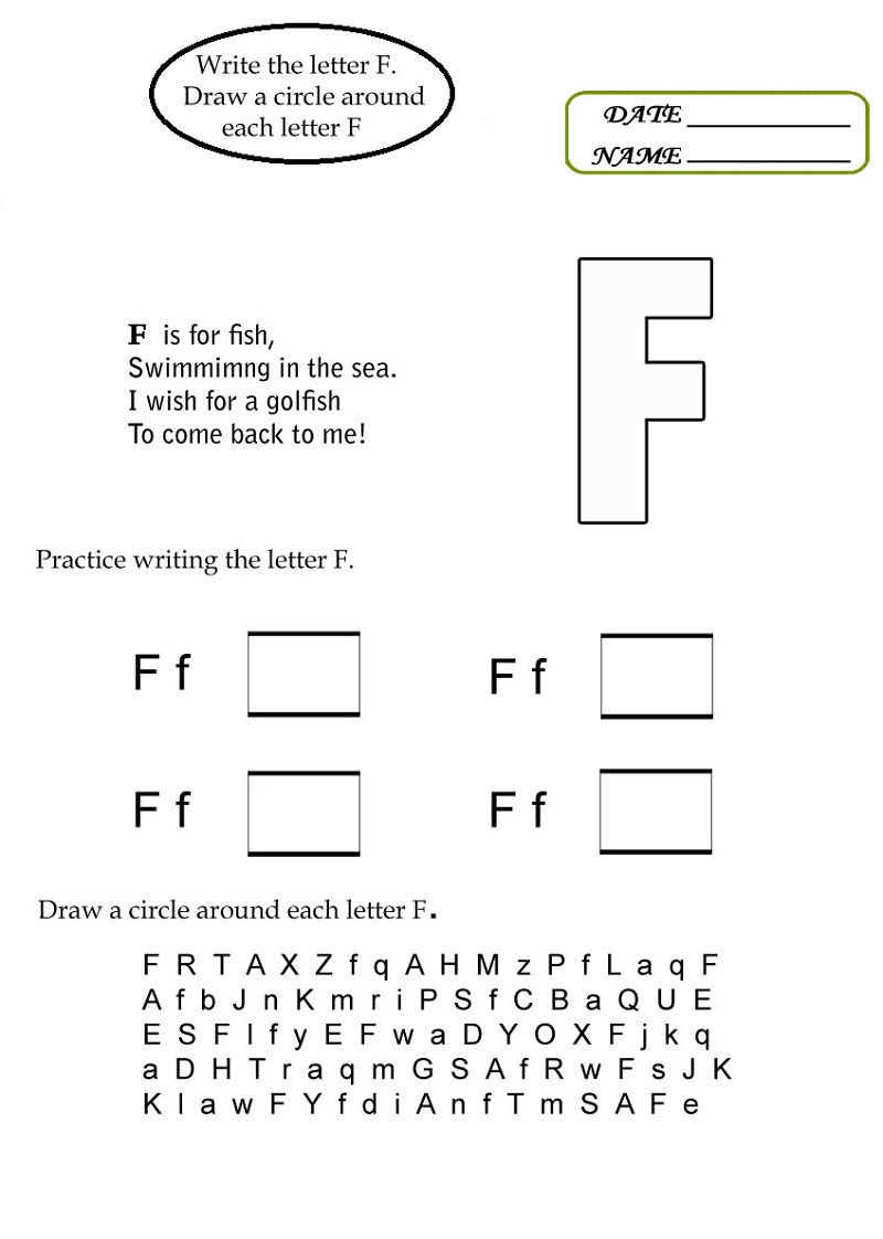F Worksheets Page