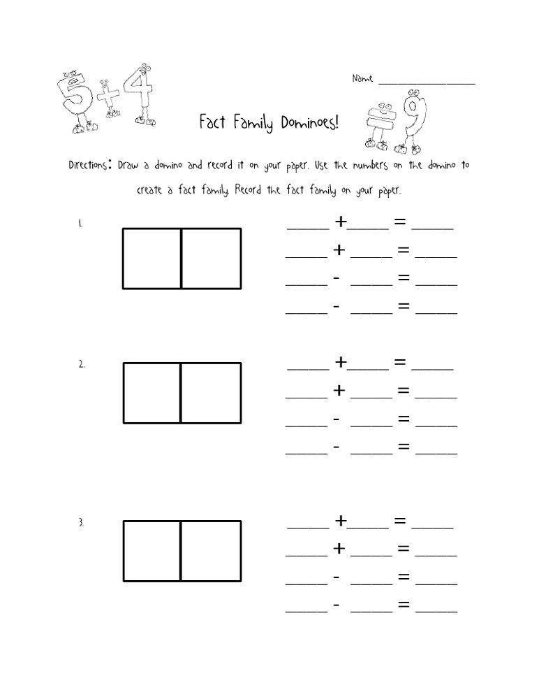 Fact Families Worksheets Addition