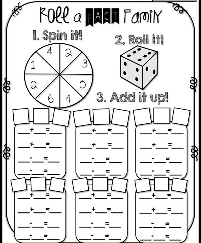 Fact Families Worksheets First Grade Subtraction