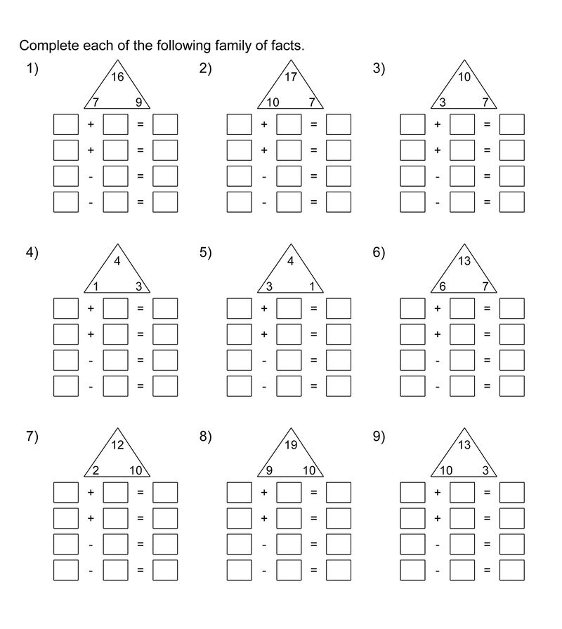 Fact Families Worksheets Math