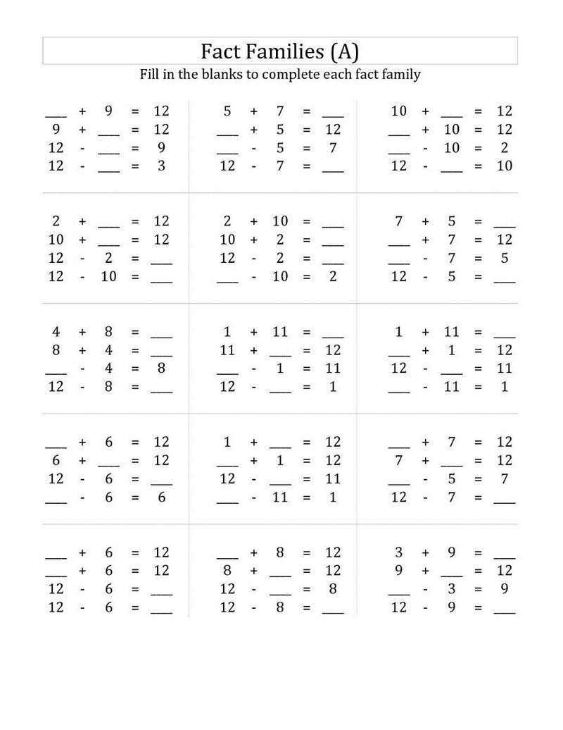 Fact Family Worksheets 1st Grade Addition
