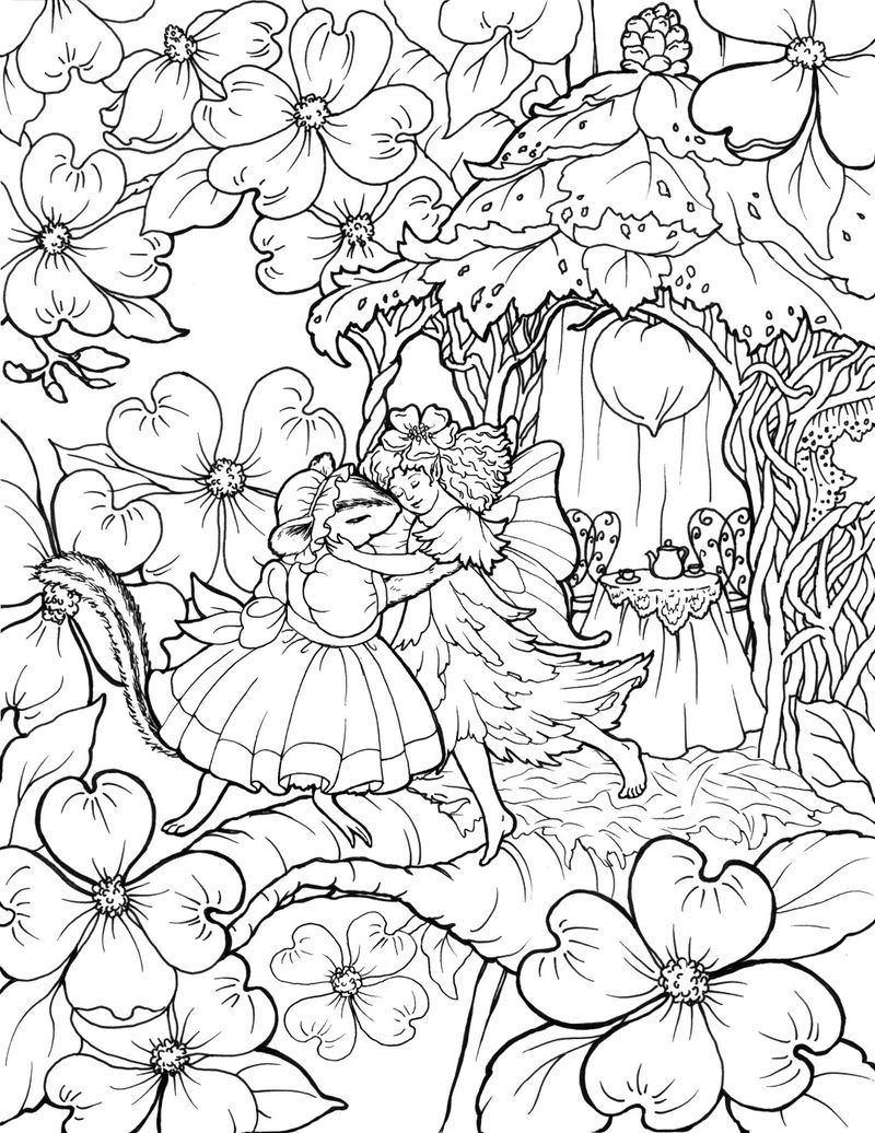 Fairy And Mouse Dance Coloring Page