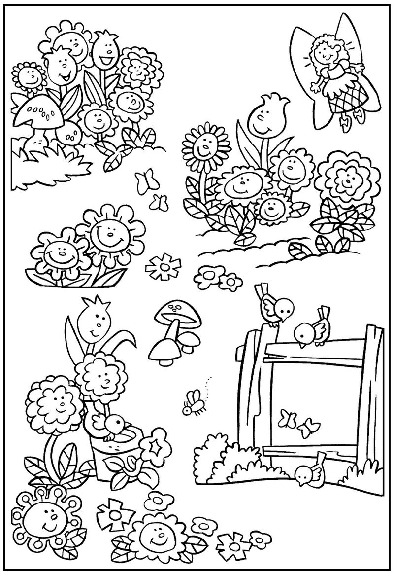 Fairy Gardening Coloring Pages 001