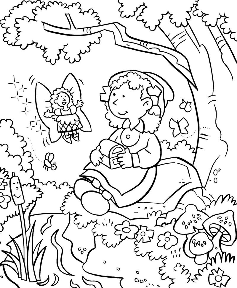 Fairy In Garden Coloring Page