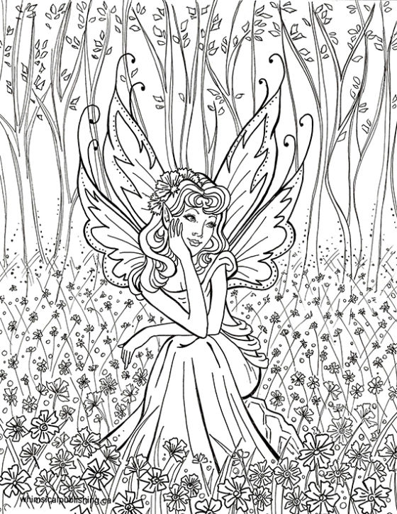 Fairy In The Forest Coloring Page