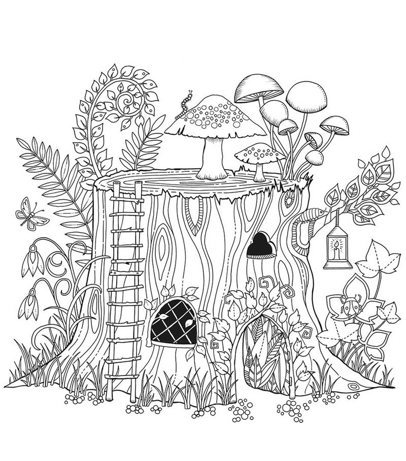 Fairy Stump Cool Coloring Pages