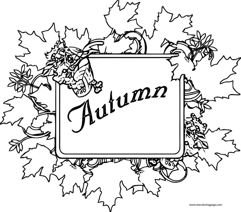 Fall Autumn Sign Coloring Page