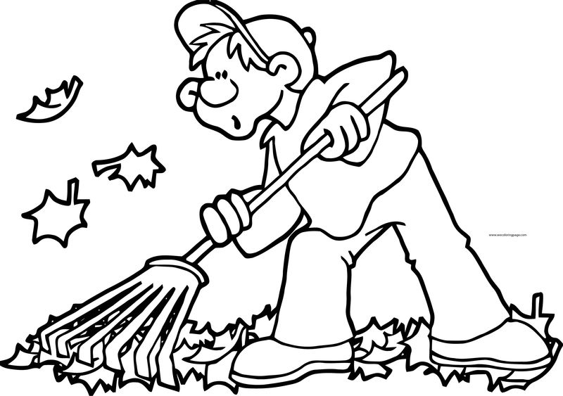 Fall Cleaner Boy Coloring Page