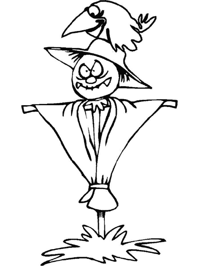 Fall Coloring Pages Scarecrow 001