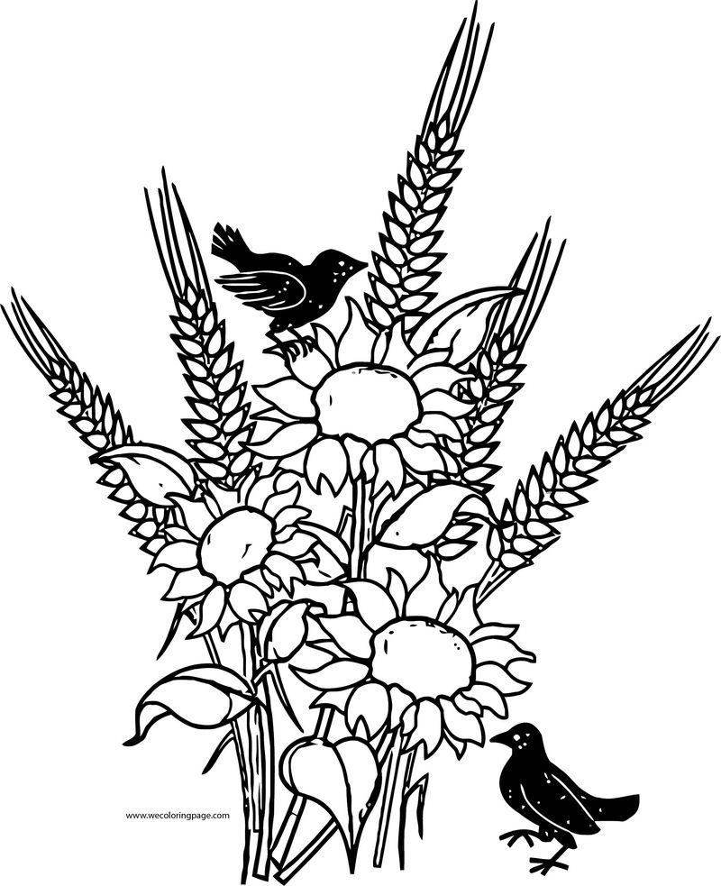 Fall Flower And Bird Coloring Page