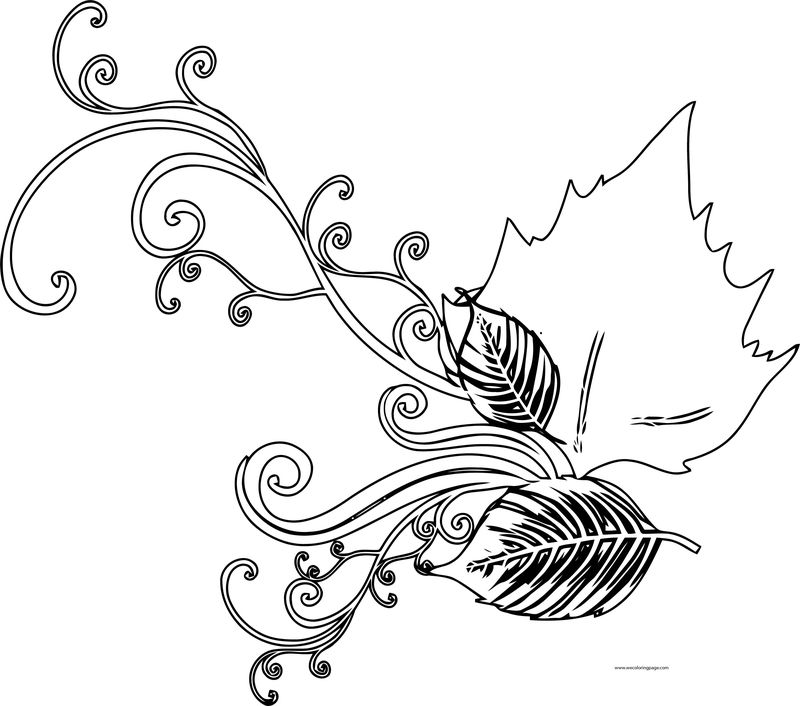 Fall Leaf Flower Graphic Coloring Page