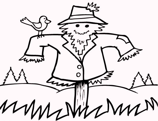 Fall Scarecrow Coloring Pages 01