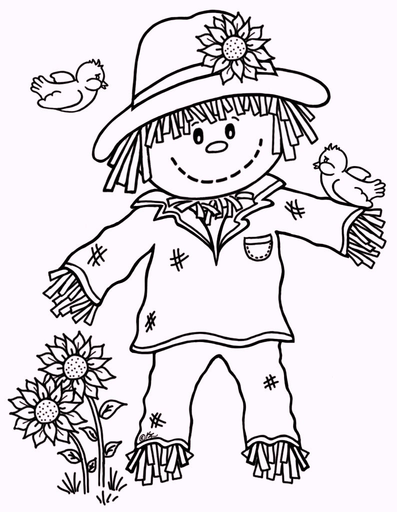 Fall Scarecrow Coloring Pages 02