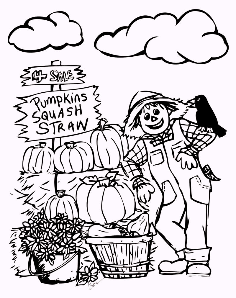 Fall Scarecrwo Coloring Pages Harvest Time