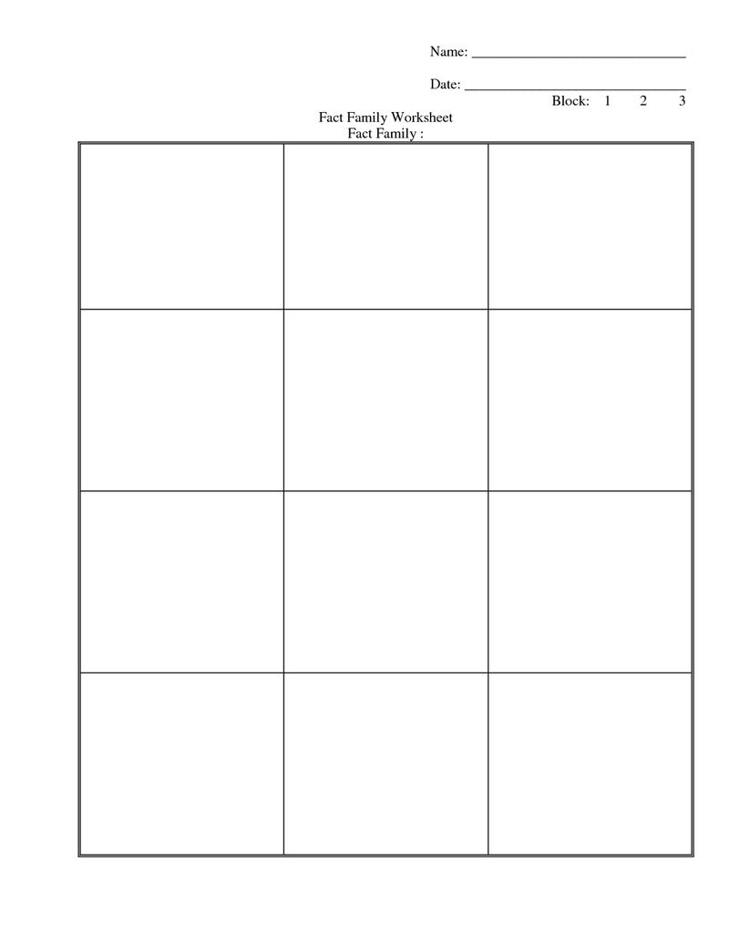 Family Facts Worksheets Blank