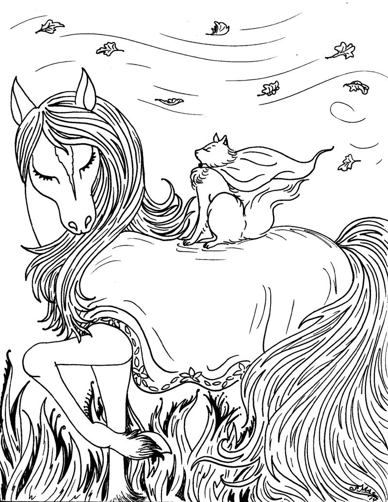 Fantasy Coloring Pages Beautiful Horse 001