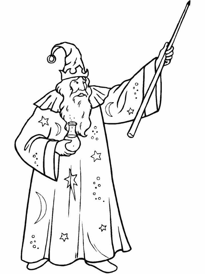 Fantasy Coloring Pages Printable Wizard 001