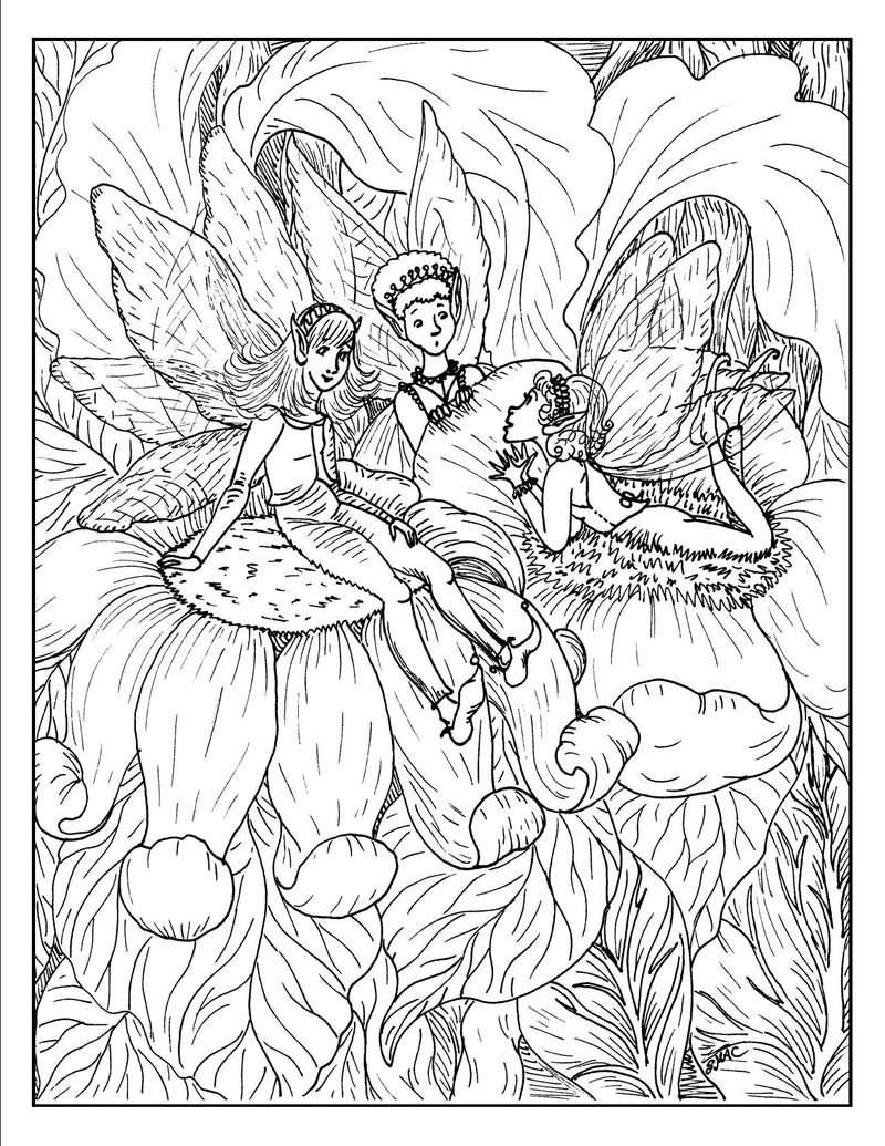 Fantasy Fairy Princess Coloring For Adults