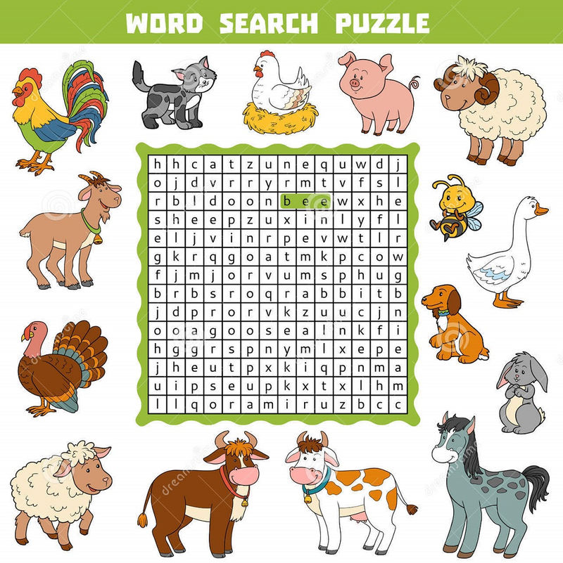 Farm Animal Word Search Activity