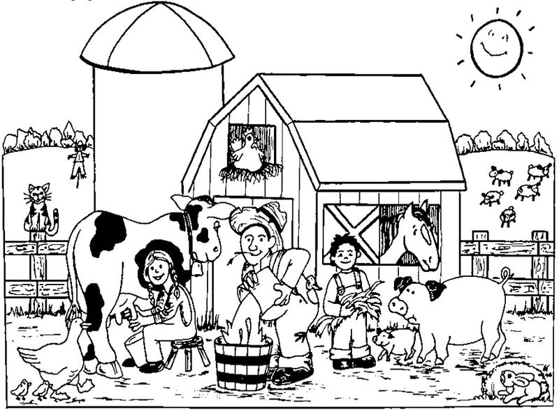 Farm Animals Coloring Page 001