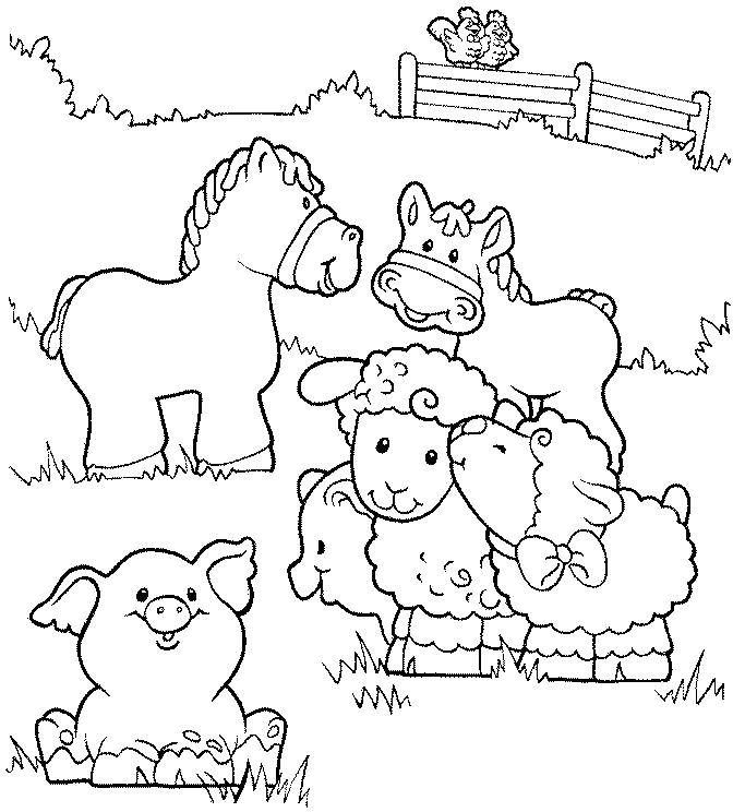 Farm Animals Coloring Page 1