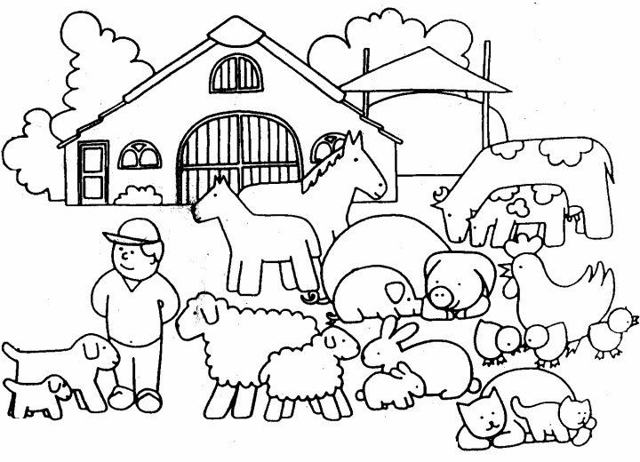 Farmer And Animals Coloring Page