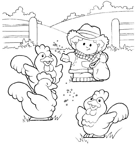 Farmer Feeding Chickens Coloring Page 1