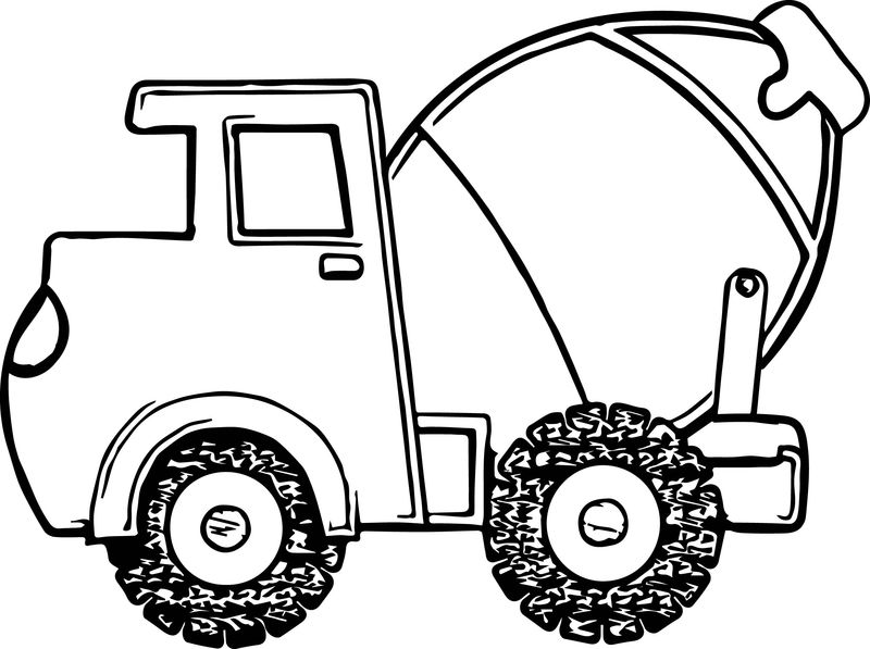 Fat Cement Truck Coloring Page