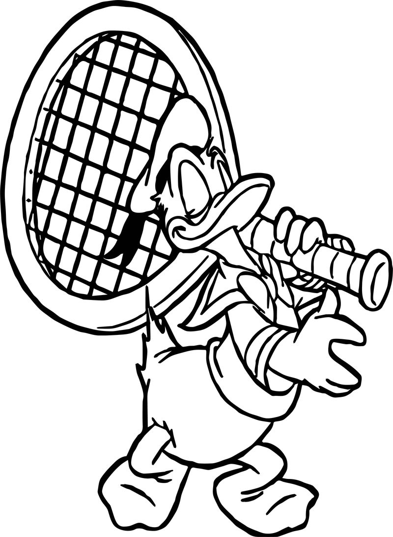 Federer Tennis Player Donald Duck Coloring Page