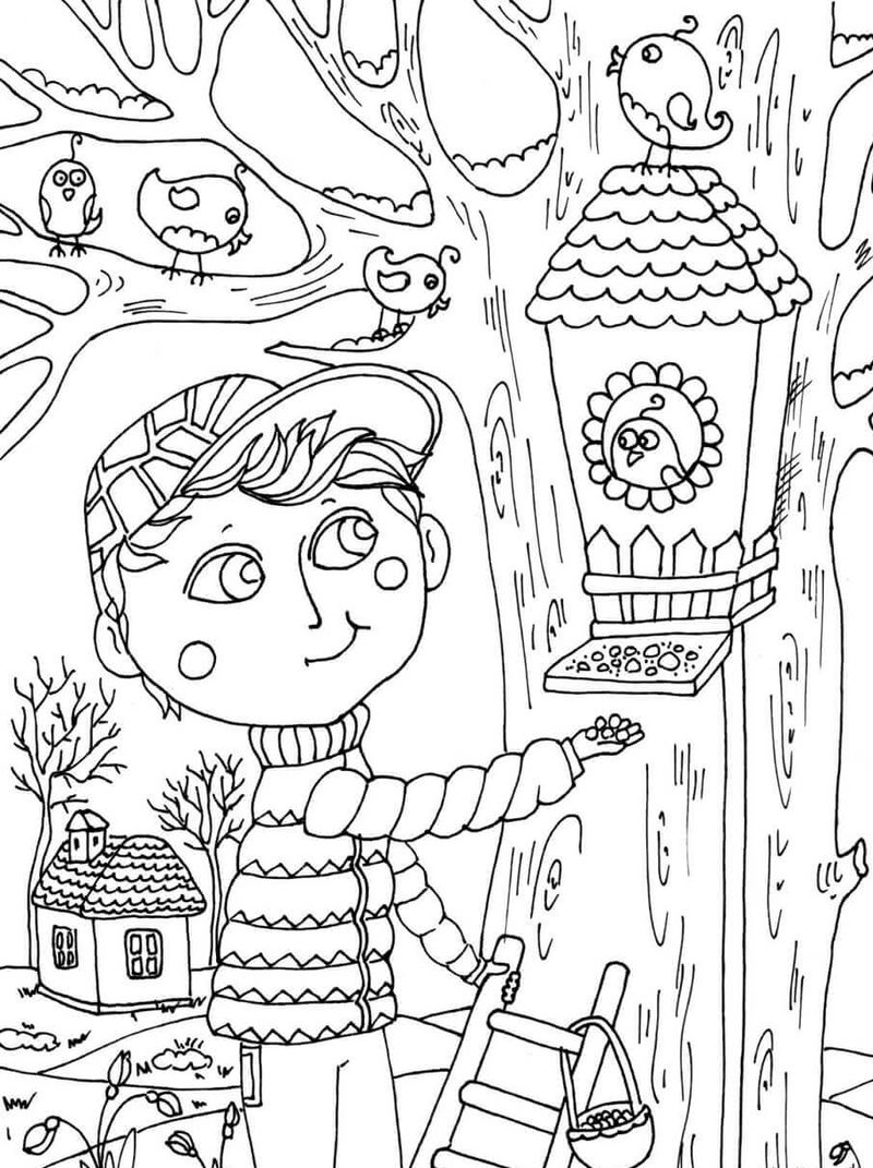 Feeding Birds In April Coloring Page
