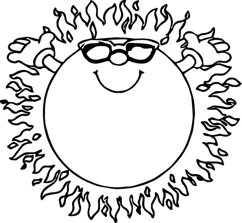 Fire Summer Sun Coloring Page