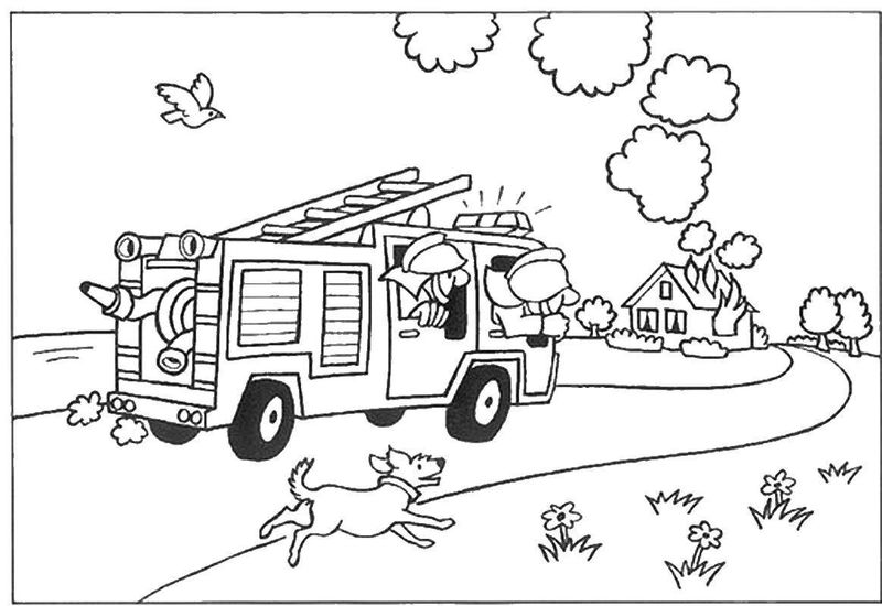 Fire Truck Coloring Page Free Picture