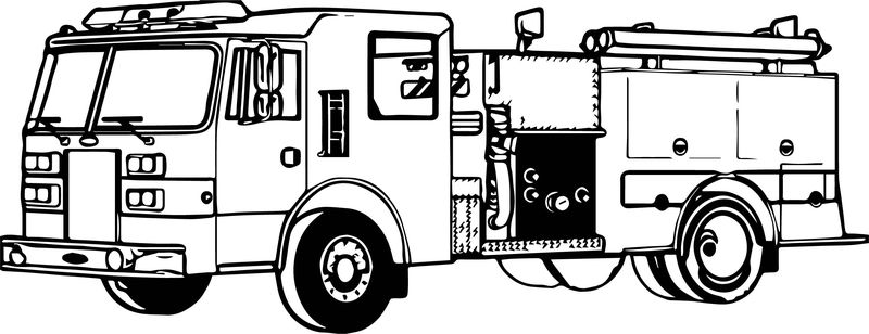 Fire Truck Perspective Coloring Page