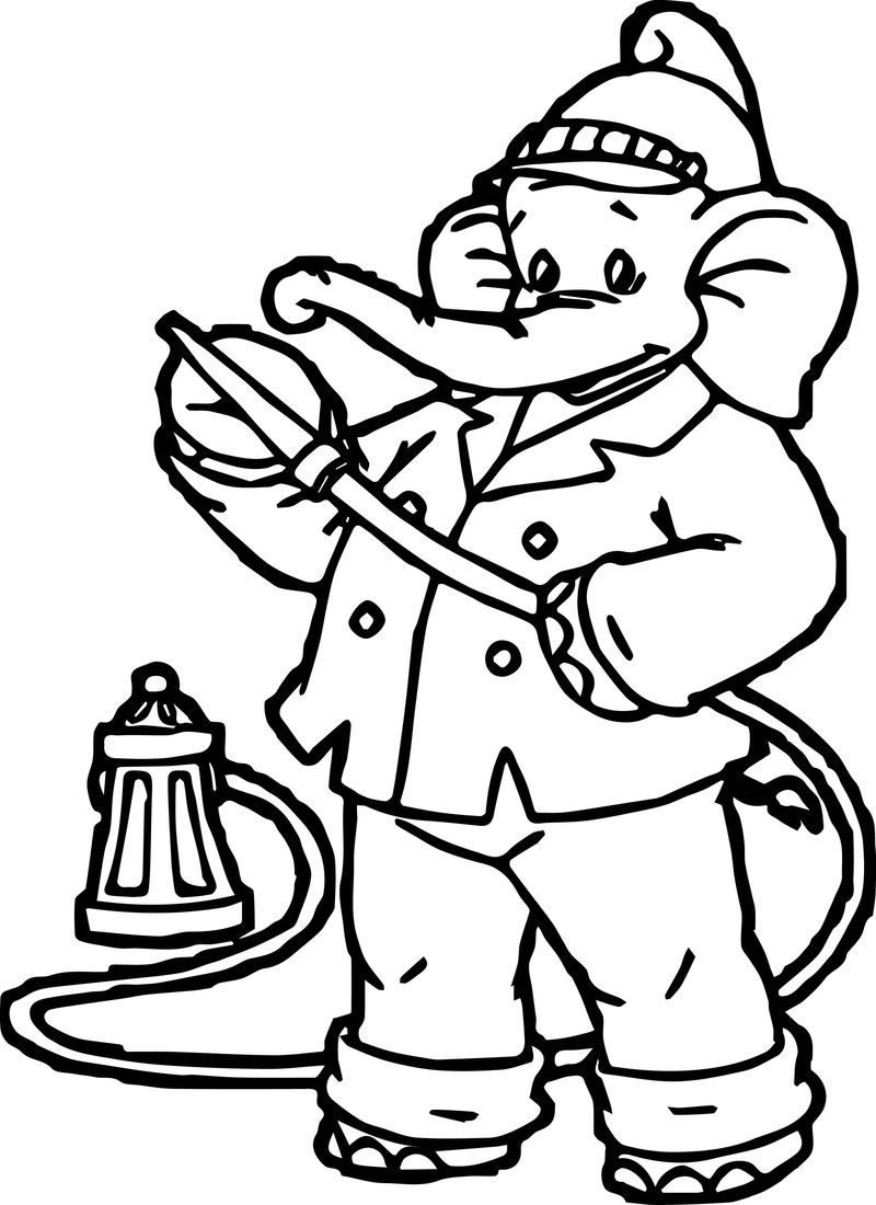 Fireman Elephant Coloring Page