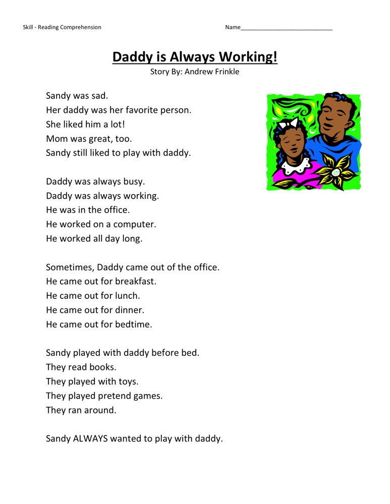 First Grade English Worksheets Reading